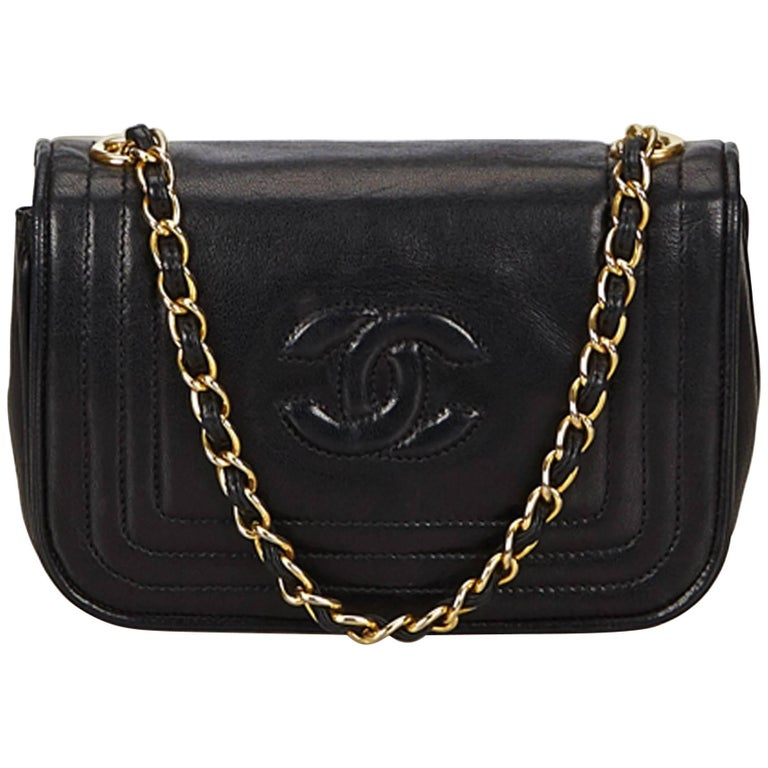 "Chanel Black Lambskin Straight Stitch Details with ""CC"" Flap Gold Chain Bag"