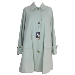 Burberry vintage light green cotton coat waterproof trench size 10 reg. 1980 NWT