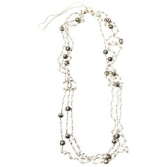 CHANEL Necklace Triple Rows Pearl Beads and Gold and Black Balls