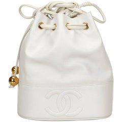 Chanel White Caviar Leather Drawstring Shoulder Bucket Bag
