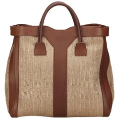 YSL Brown and Beige Woven and Linen Y Tote Bag