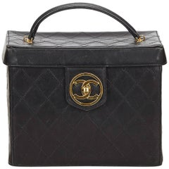 Chanel Black Quilted Lambskin Box Vanity Bag