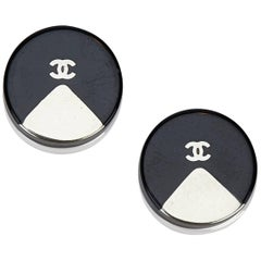 Chanel Black x Silver Round Plastic Hardware Push Back Earrings