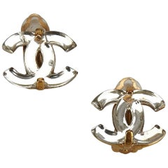 "Chanel Gold Toned x Silver Plastic ""CC"" Clip on Earrings"