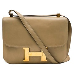 "Hermes Vintage ""Constance"" Bag in Sand Color Box Leather"