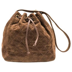 Chanel Vintage Bucket Bag in Brown Suede