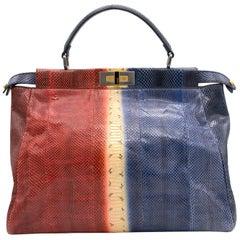 Fendi Multicolor Python Leather Large Peekaboo Tote Bag