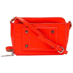 VERSACE JEANS Bag in Neon Orange Patent Leather