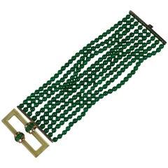 Trifari Wide Art Deco Faux Emerald Bead Bracelet