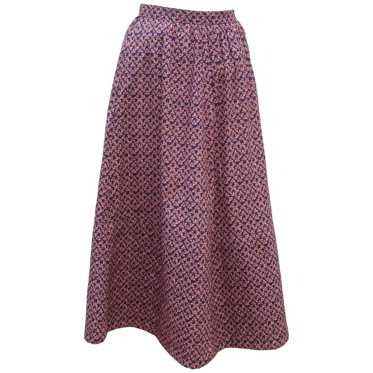 Jaeger Floral Cotton Peasant Skirt With Quilted Hem, 1970s