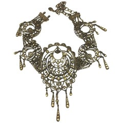CHRISTIAN DIOR Vintage Crew Necklace in Copper Filigree Metal and Rhinestones