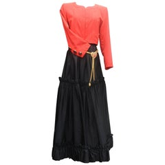 Yves Saint Laurent Rive Gauche red and black skirt set