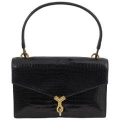 Hermes Vintage Black Croco Bag, 1960s