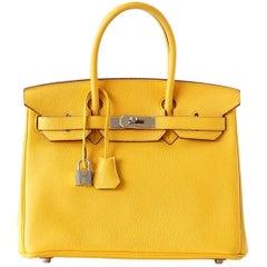 Hermes Birkin 30 Bag Soleil Sun Yellow Togo Palladium Hardware