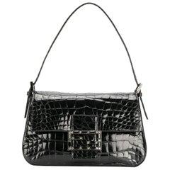 Fendi Black Crocodile Leather Vintage Bag, 2000s
