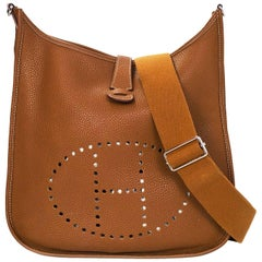 Hermes Tan/Gold Clemence Leather Evelyne III GM Messenger Bag