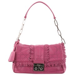 Christian Dior New Lock Ruffle Flap Bag Perforated Leather