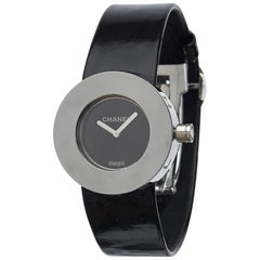 Chanel Black x Silver Patent Leather and Metal  La Ronde Watch