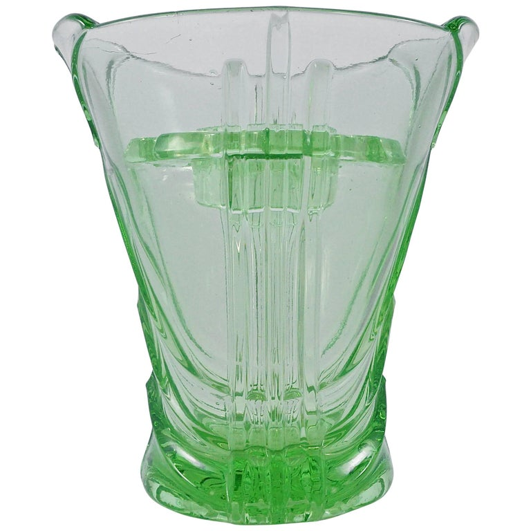 Green Art Deco Pressed Glass Vase with Frog, 1930s