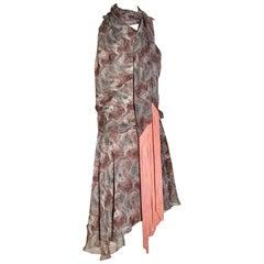 Alexander McQueen Fish Print Silk Chiffon Fringe Scarf Dress, 2007