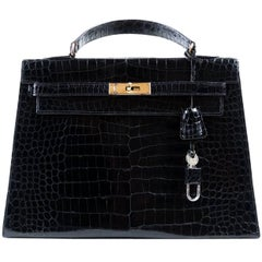 Hermes Kelly 32 Vintage Black Crocodile Bag Spa Hermes Invoice From 2017