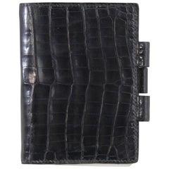 Hermes Vintage Black Croco Pocket Agenda