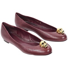 Alexander McQueen Red Leather Skull Flats