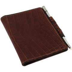 Hermes Vintage Pocket Brown Croco Leather agenda