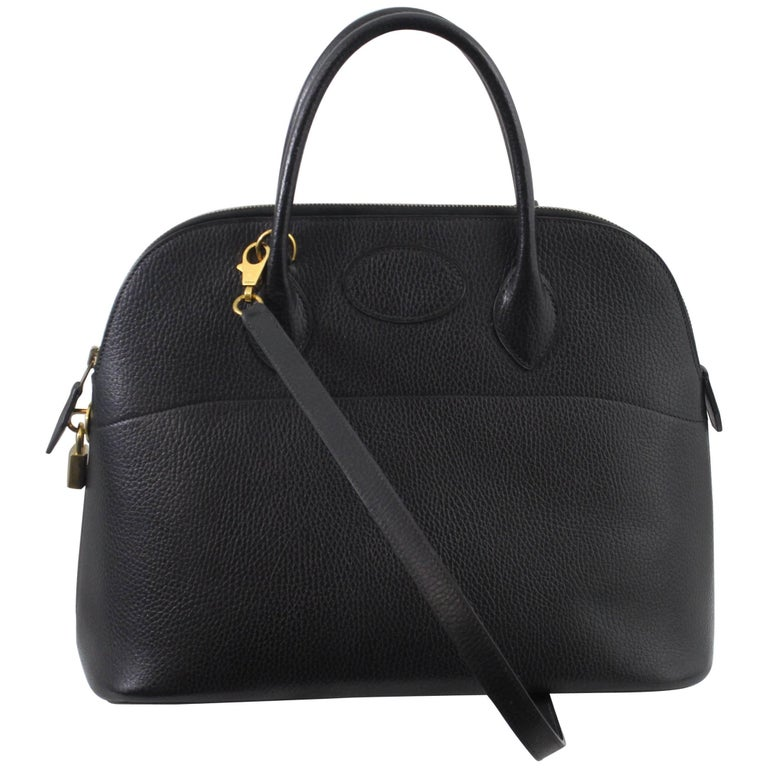 Hermes Vache Ardenne Black Bolide 36  Bag with Strap