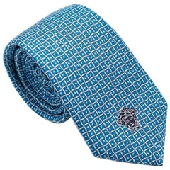 Versace Men's Blue and White Geometric Silk Tie