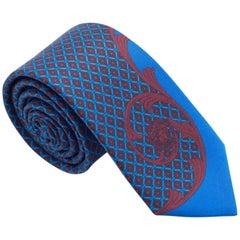 Versace Men's Blue and Red Printed Geometric Silk Tie