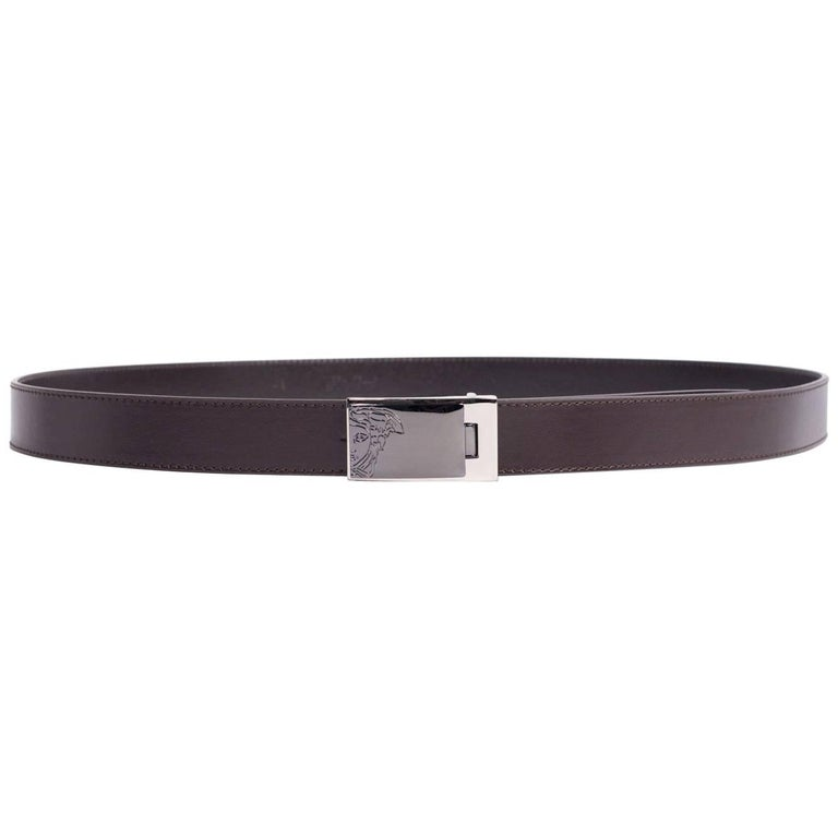 Versace Men's Brown Leather Medusa Logo Belt
