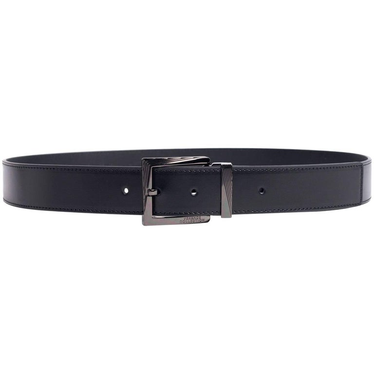 Versace Men's Solid Black Leather Belt