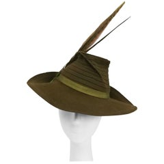Olive Green Wide Brim Hat with Dyed Pheasant Feathers, 1940s