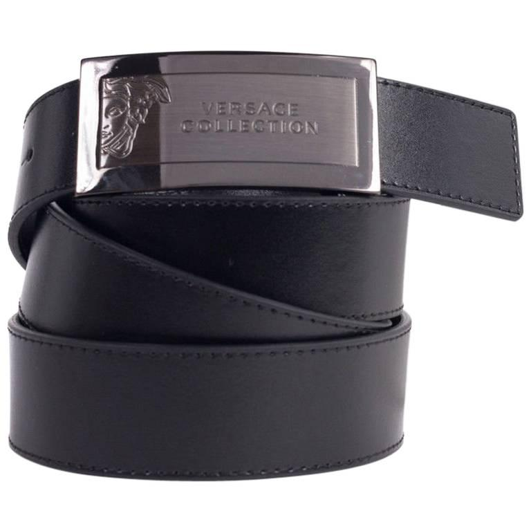 Versace Men's Black Leather Medusa Logo Belt