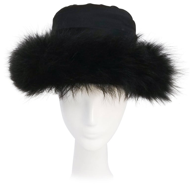 Sheep Fur Trim Black Hat, 1960s