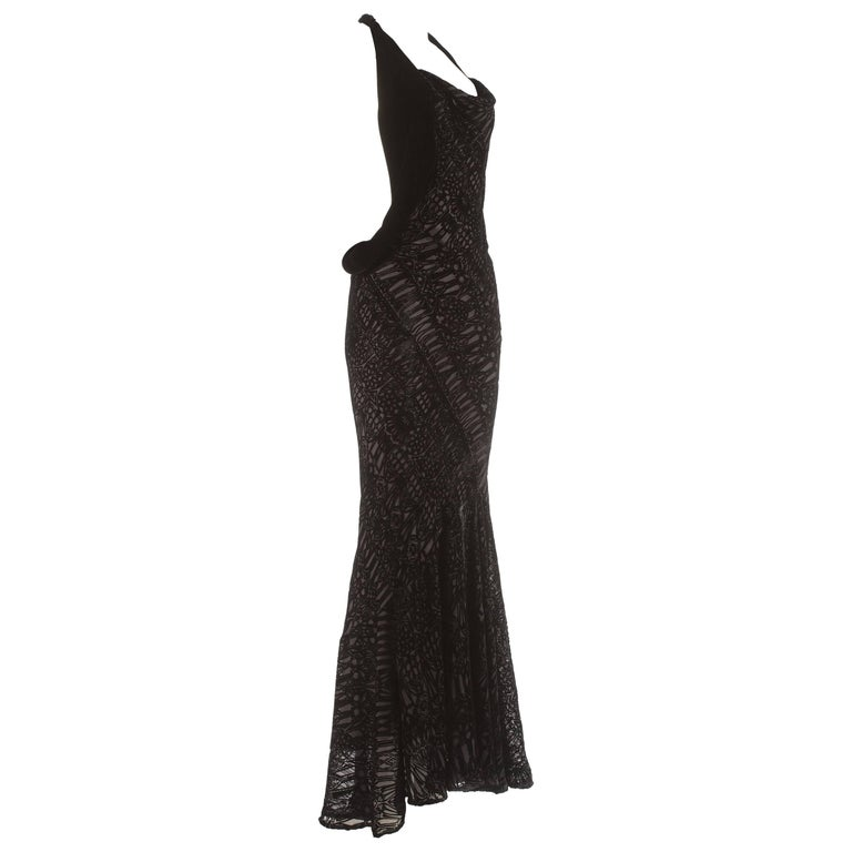 Alexander McQueen black silk and velvet bias cut evening dress, circa 2004