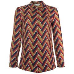 Gucci Women's Multi-Color Chevron Printed Button Down