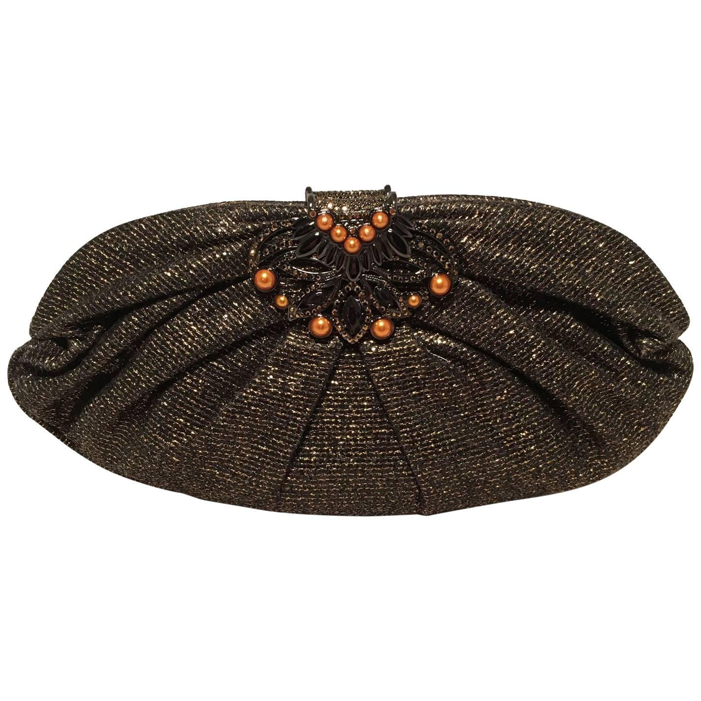 Judith Leiber Black And Gold Woven Pearl Embellished Clutch HazCl