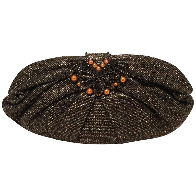 Judith Leiber Black and Gold Woven Pearl Embellished Clutch