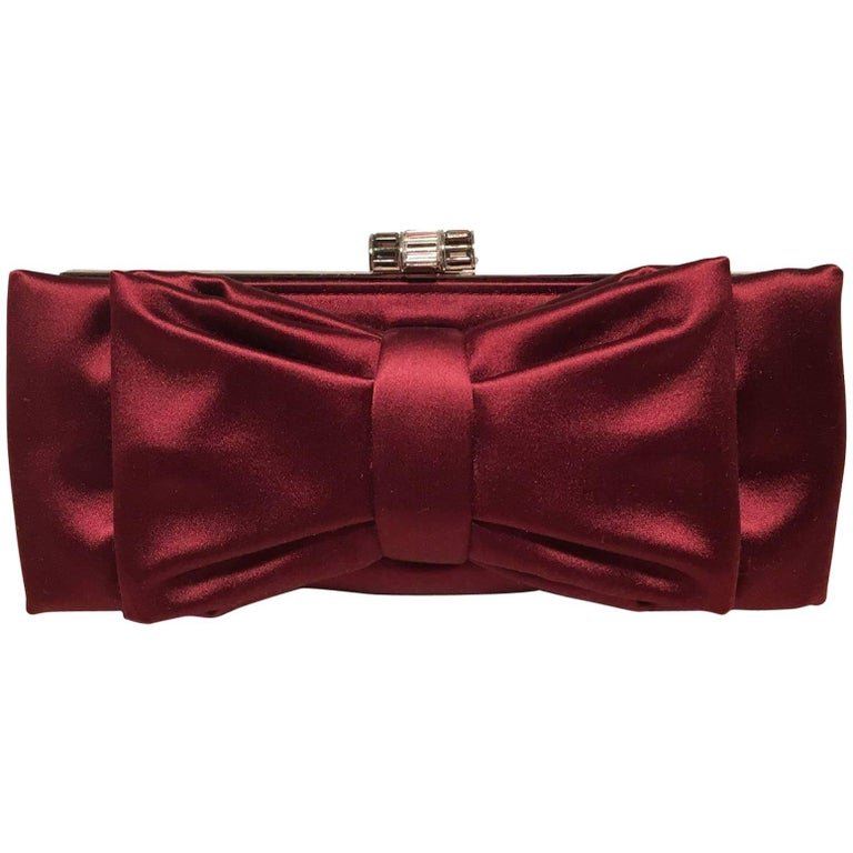 Judith Leiber Dark Red Silk Satin Bow Front Clutch Evening Bag For Sale