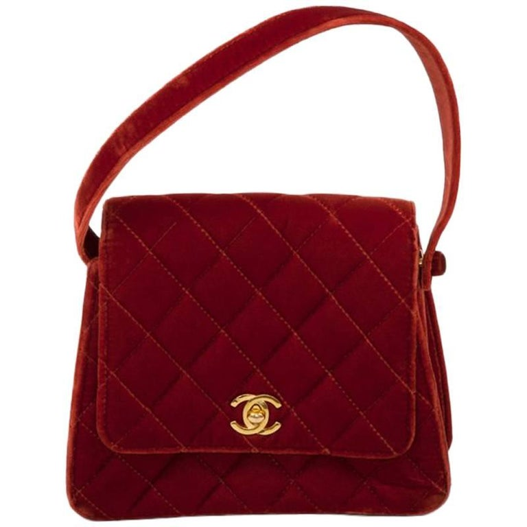 Chanel Velvet Quilted Top Handle Bag