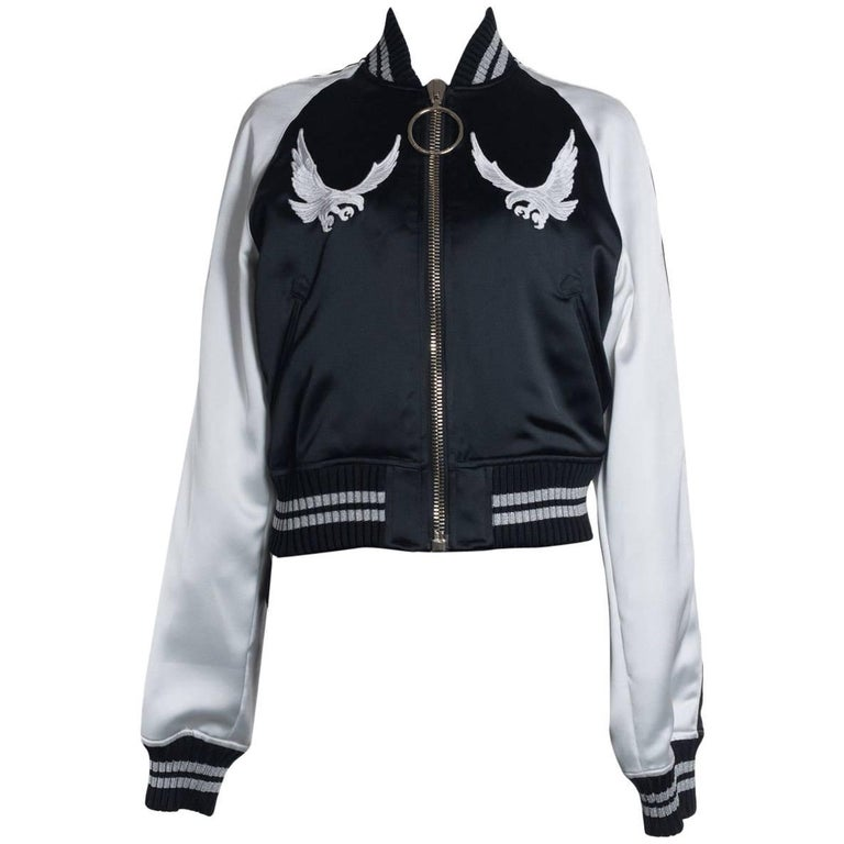 b1bc161b00c1 Off-White Womens Black and White Bird Embroidered Bomber Jacket For Sale