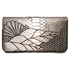 Judith Leiber Silver Faux Snakeskin Python Clutch