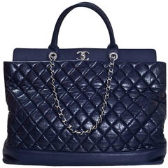 Chanel Blue Quilted Aged Calfskin Be CC Large Satchel Bag