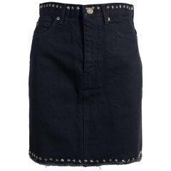 Saint Laurent Women's Black Star Studded Trim Denim Skirt