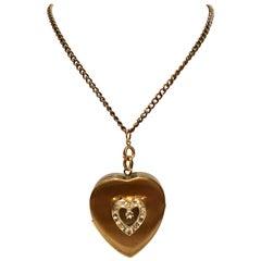 1950'S Brass Heart Locket Music Box Pendant Necklace