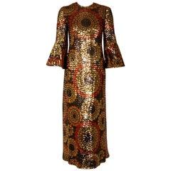 Pierre Balmain Haute Couture Graphic Sequin Bell Sleeve Column Dress, 1968