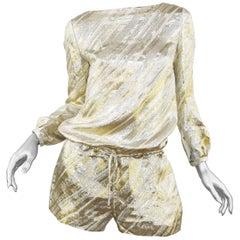 Azzaro Metallic Gold & Silver Striped Romper, Size FR 36