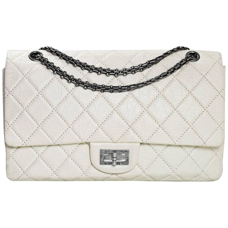 170aa98c7fe520 Chanel Ivory Quilted Calfskin 2.55 Reissue 227 Jumbo Double Flap Bag For  Sale